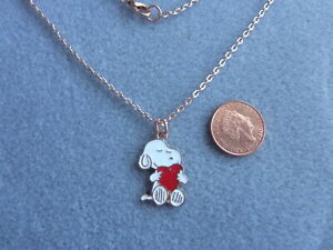 """Snoopy Love Heart Enamel Charm Pendant Necklace 18"""" Rose Gold Plated Chain Gift"""
