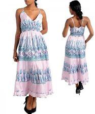 New White Blue Floral Maxi Long Cocktail Empire Waist Summer Dress S M L XL