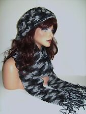NEW BLACK GRAY MULTI CROCHET RASTA HAT AND SCARF SET BERET CLOCHE BAGGY SLOUCHY