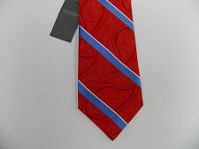 Daniel Cremieux Signature Coll. Silk Necktie Red Blue Paisley Striped Tie 79 NWT