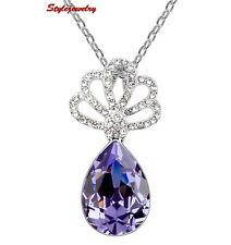 Silver Amethyst Purple Teardrop Necklace Made with Swarovski Crystal N187