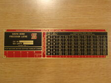 """SOUTH BEND LATHE REPRODUCTION NAME PLATES FOR 16"""" MACHINE"""