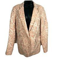 Lafayette 148 Linen jacket 12 Lyndon blazer pink print L leaf floral botanical