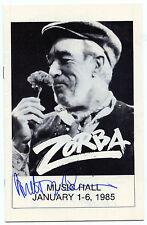 ANTHONY QUINN 1985 Signed ZORBA Playbill  PSA Guarantee