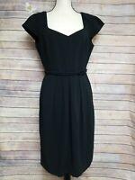 Giorgio Armani Women Black Cap Sleeve  Belted Dress Super 150's Wool Lined Sz 44