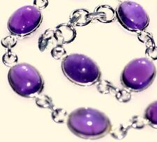 argento sterling 925 AMETISTA Bracciale autentico viola gemme pietra zodiacale