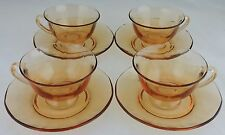 VINTAGE DEPRESSION ? OPTIC PEACH/AMBER GLASS TEA/COFFEE CUP SAUCER SET 8 PC