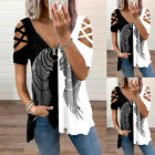 Womens Cold Shoulder Blouse Tops Loose Zipper V Neck Short Sleeve Casual T-shirt