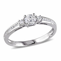 Amour 1/2 CT TW 3-Stone Diamond Engagement Ring in 10k White Gold