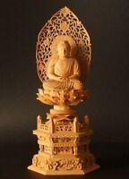 "JAPANESE BUDDHIST STATUE AMITABHA AMIDA-NYORAI PLAIN WOOD SHIRAKI 30.5CM / 12"""