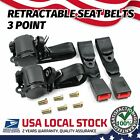 Retractable 3 Point Safety Seat Belt Car Vehicle Adjustable Belt Kit Straps *2