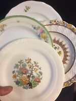 4 - Vintage Mismatched China Dessert Cake Bread Plates Green Yellow Blue # 130