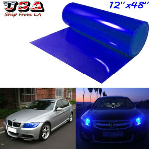 "12""x48"" Glossy Dark Blue Headlight Taillight Fog Lamp Tint Vinyl Film Wrap Sheet"