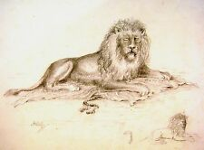 ANIMALS THE WATERLOO LION J H PRIKYLSEE PENCIL C1880