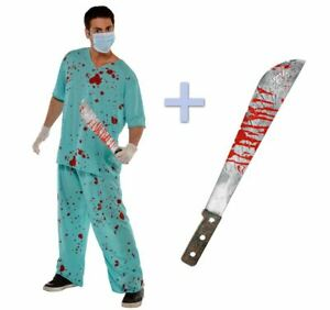 Adults Unisex Bloody Zombie Scrubs Doctor Halloween Costume + Fake Machete Prop