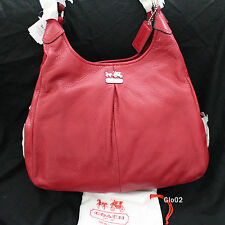 NWT COACH MADISON MAGGIE RED CARLET PEBBLE LEATHER TOTE SHOULDER BAG PURSE NEW
