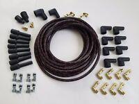 8mm DIY Universal Cloth Covered Spark Plug Wire Kit Vintage Wires v8 Black Red