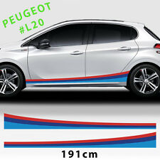 Martini Side Sport Racing Stripes Stickers Decal For Peugeot 208,207,308