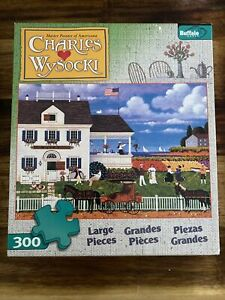 Charles Wysocki Tea By the Sea 300 Large PC Puzzle Used Complete Buffalo Poster