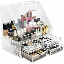 Sorbus Acrylic Cosmetics Makeup Organizer Display with Slanted Front Open Lid