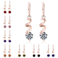 Fashion Women Crystal Cubic Zirconia Drop Dangle Hoop Huggie Earrings Jewelry
