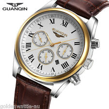 GUANQIN Men's Luxury Date Day Leather Military Quartz Analog Sport Wrist Watch