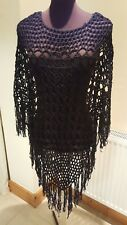 New Ladies knitted black poncho SHAWL  10/12 UK light weight Party Eve Halloween