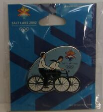 4 = 2002 Olympics Missionary On Bikes Pin Cricket Seagull & Flame Mormon Utah