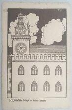 cartolina d'epoca BOLOGNA Dettaglio del Palazzo Comunale iIlustratore Chappuis