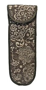 Thirty One Perfect Bottle Thermal Wine Tote Bag Brown Woodblock Floral Print