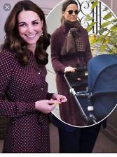 New Whistles Margot Burgundy Dot Shirt Dress ASO Royal Uk 12 USA 8