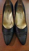 ST. JOHN Women's Black Satin Heels Pumps Shoes Made in Italy Size 7.5 S