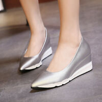 Womens Pointed Toe Hidden Wedge Heels Sneakers Creepers Solid Slip On Shoes Size
