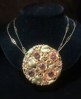 Vintage Medallion Flower NECKLACE Green & Yellow Gold Tone-Double Chain