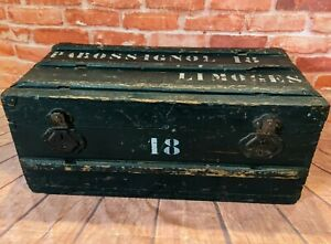 French Antique Rustic Pine Chest - Painted Green - Steamer Storage Trunk - Box