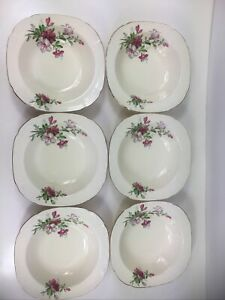 vintage Alfred Meakin England china 6x bowls floral gold edging pink azalea