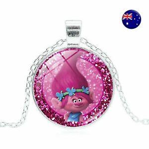 NEW Girl Children Kid Trolls Poppy Jewelry Gemstone Cameo Pink Pendant Necklace