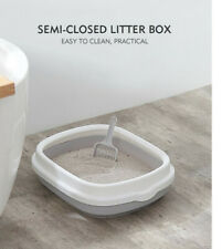 High quality square plastic cat litter box semi-closed kitten cat litter tray