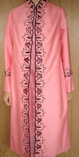 DRESS & COAT SUIT Size 12 2pce HAND MADE One Off Apricot With Black Embroidery