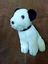 """CUTE Vintage RCA Nipper Dog Plush with Red Collar Soft Paws 6"""" Stuffed"""