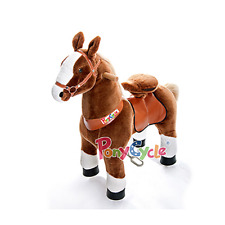 PonyCycle Small Brown & White Non-Electric Kid Powered Ride On Toy Horse