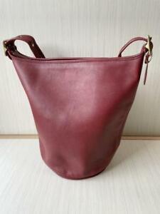 COACH Old Vintage Duffle Sac Feed Bag shoulder Bag Red No. J6D 9085 Used