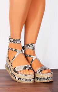 Snake Print Wrap Round Canvas Wedged Plat fWedges Flatforms Strappy Sandals Size