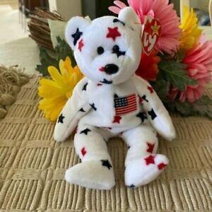 Ty Glory Patriotic Stars Bear Beanie Babies Plush Toy, NWT