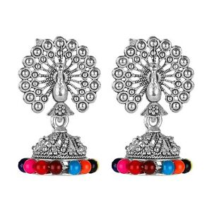 Small Size Traditional Layered Oxidised Silver Plated Jhumka Earrings for Women