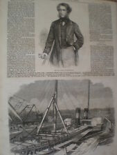 John laird and his graving docks at Birkenhead Liverpool 1861 old prints