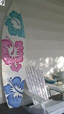 6 Foot Wood Hawaiian Surfboard Wall Art Decor or Headboard kids multi-color