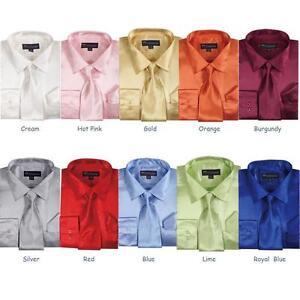 Men's Shiny Silky Satin Formal Dress Shirt w/ Tie and Hanky Set #08
