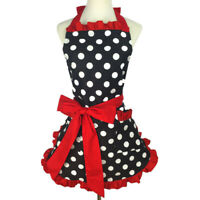 Various Cute Women Girl Kitchen Cooking Bib Dots Bowknot Aprons Princess Dress