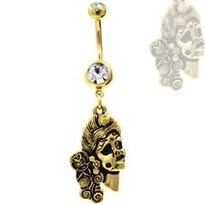 """THE UNDEAD GIRL GOLD PLATED BELLY RING NAVEL PIERCING w/CLEAR CZ GEM (14g 3/8"""")"""